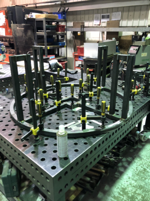 fabricated base frame on our jig table
