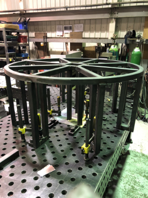 fountain base frame being fabricated