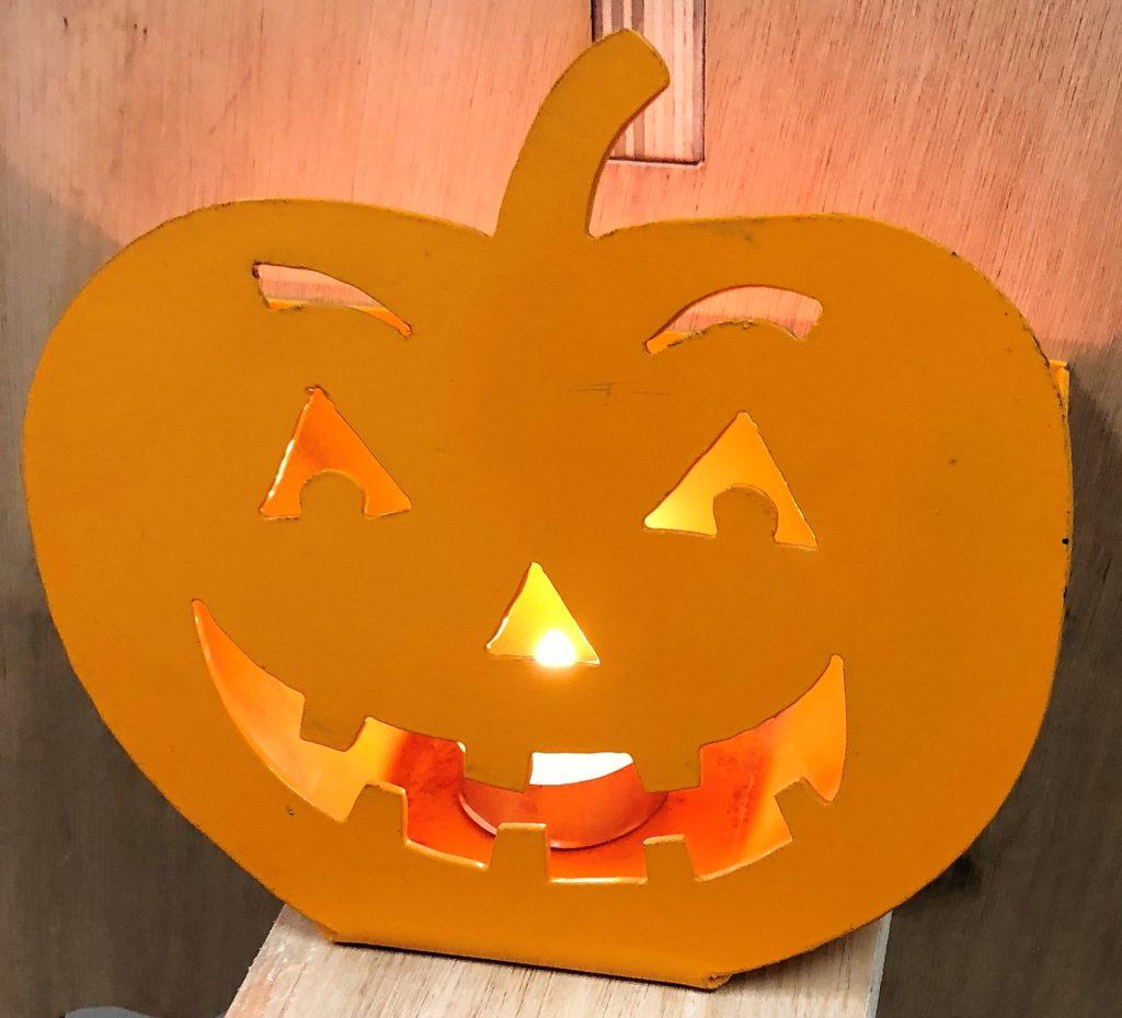 metal halloween pumpkin tea light