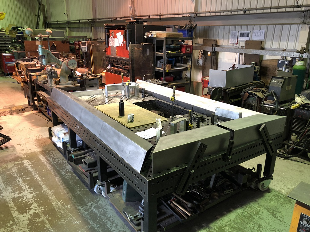 Corten steel wall capping featre being fabricated in our workshop