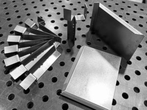 Sheet metal parts for a Solar Cooker Jig Frame fabricated from 3mm cold rolled steel