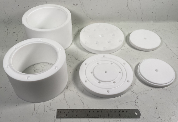 PTFE Potting jig tools machined from Solid PTFE round bar