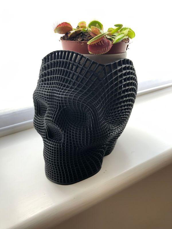carbon fiber skull plant pot