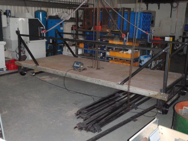 setting up to load test the rolling platform gantry