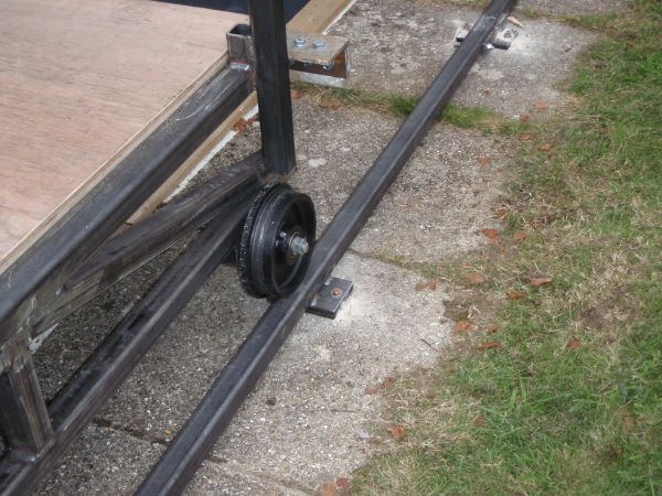 steel wheels on the rolling platform located on the steel track