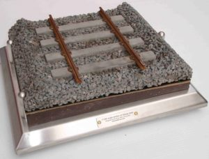1-10th Scale model section of a railway track line with ground layers